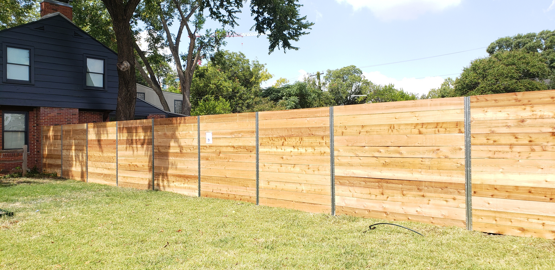 8ft horizontal modern style cedar wood new fence installation