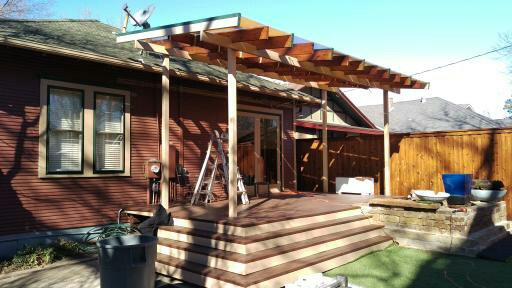 Free standing patio cover and wood deck